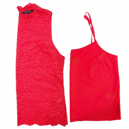 Red Sleeveless Top and Cami Sz L/P BANANA REPUBLIC