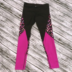 Girls Pink and Black athletic Pants Leggings Size M 8
