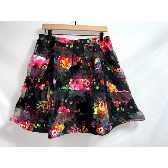 Black Floral Skirt Size 13