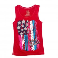 Girls Red 4th of July Tank Top Sz XS