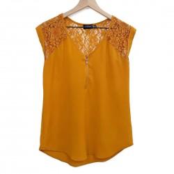 Gold Short Sleeve Blouse Sz Small