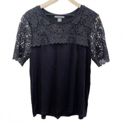 Adrianna Papell Black Lace Top Sz L