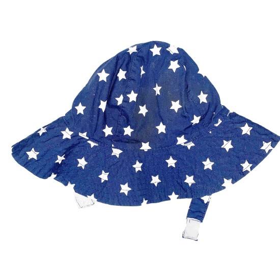 Girls Sun Hat Blue with White Stars 3-9 Months