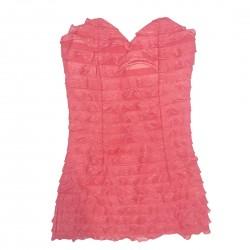Tube Top Coral Pink Womens Shirt Sz XS