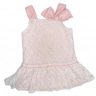 Girls Sleeveless White and Pink Lace Dress 2T