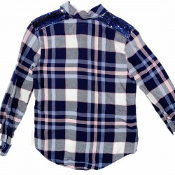 Justice Flannel Button Down Top Sz 12