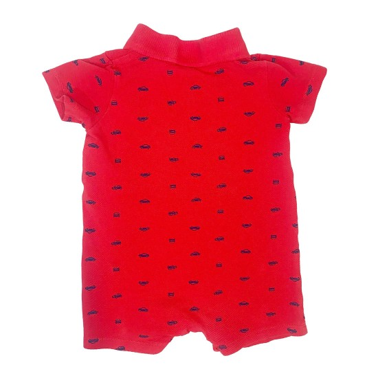 Carter's Red with Blue Cars Shorts Onesie Sz 12M