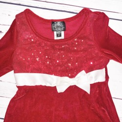 Girls Red Long Sleeve Dress Sz 2T