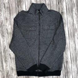 Men's Gray Small Zip Up Collar Jacket