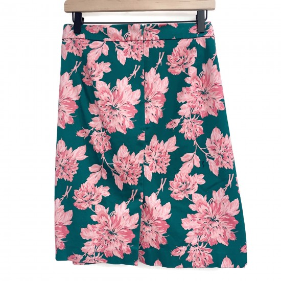 JCrew Mercantile Green and Pink Floral Skirt Sz 14