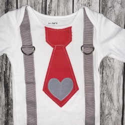 Boys Valentines Onesie Suspenders 6mo