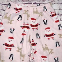 Christmas Pajama Pants Pink Santa and Penguin Sz 3T