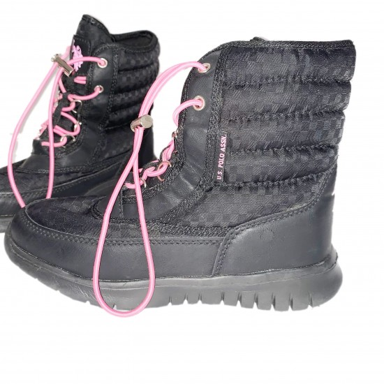 Girls Black and Pink Polo Boots Size 1