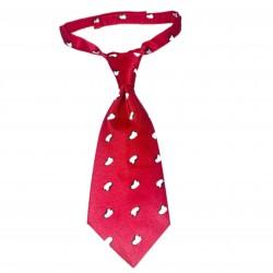 Boys Red Velcro Neck Tie Penguins