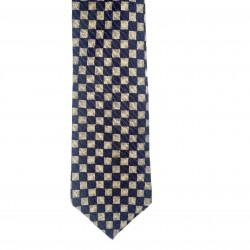 Men's Tie Blue and Tan Checker