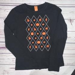Long Sleeve Halloween Black and Orange Womens Top Sz M