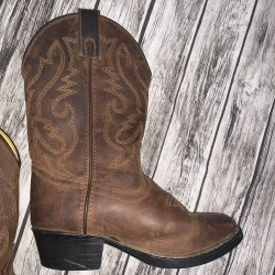 Leather Cowboy Western Boots Girls Size 12.5
